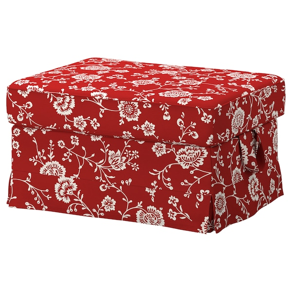 EKTORP Cover for footstool, Virestad red/white