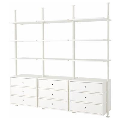 ELVARLI Open storage combination, white, 258x51x222-350 cm