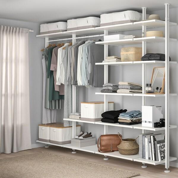 ELVARLI Wardrobe combination, white, 303x51x222-350 cm