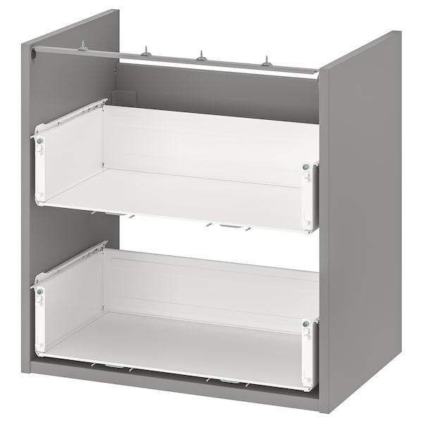 ENHET Base cb f washbasin w 2 drawers, grey, 60x40x60 cm