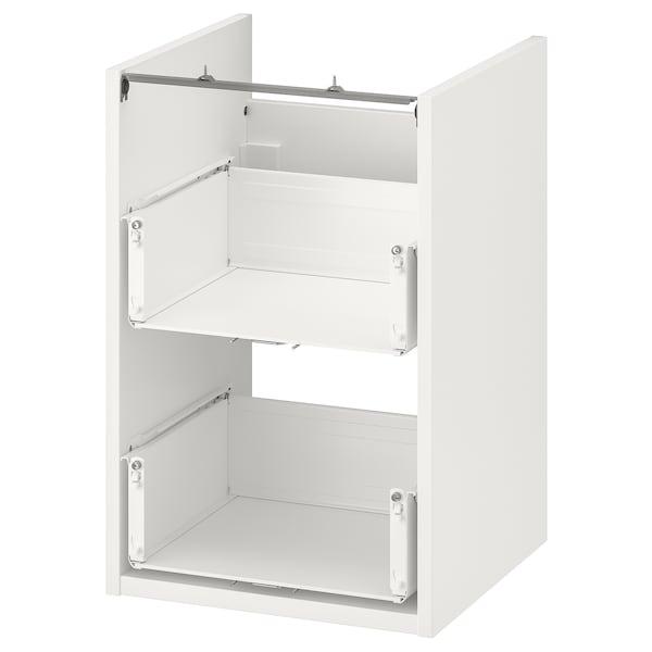 ENHET خزانة قاعدة لحوض مع درجين, أبيض, 40x40x60 سم