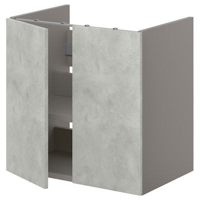 ENHET Bs cb f wb w shlf/doors, grey/concrete effect, 60x42x60 cm