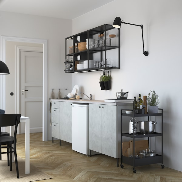 ENHET Kitchen, anthracite/concrete effect, 243x63.5x222 cm