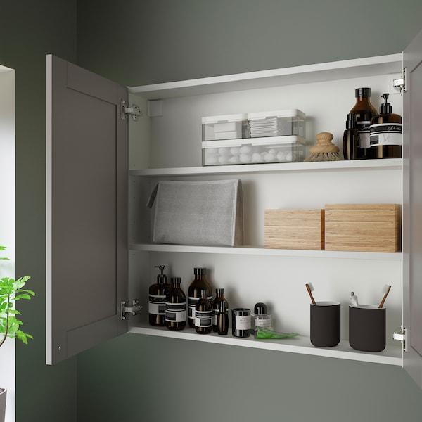 ENHET Mirror cabinet with 2 doors, white/grey frame, 80x17x75 cm