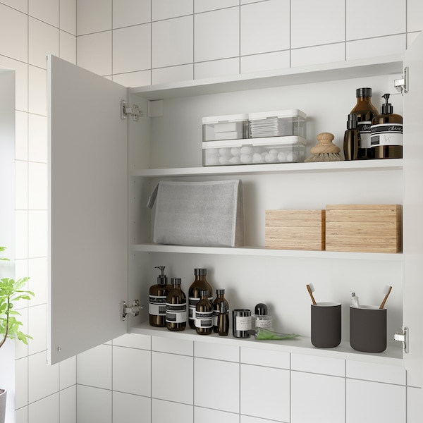 ENHET Mirror cabinet with 2 doors, white, 80x17x75 cm