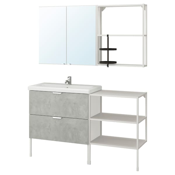 ENHET / TVÄLLEN Bathroom furniture, set of 15, concrete effect/white Pilkån tap, 142x43x87 cm
