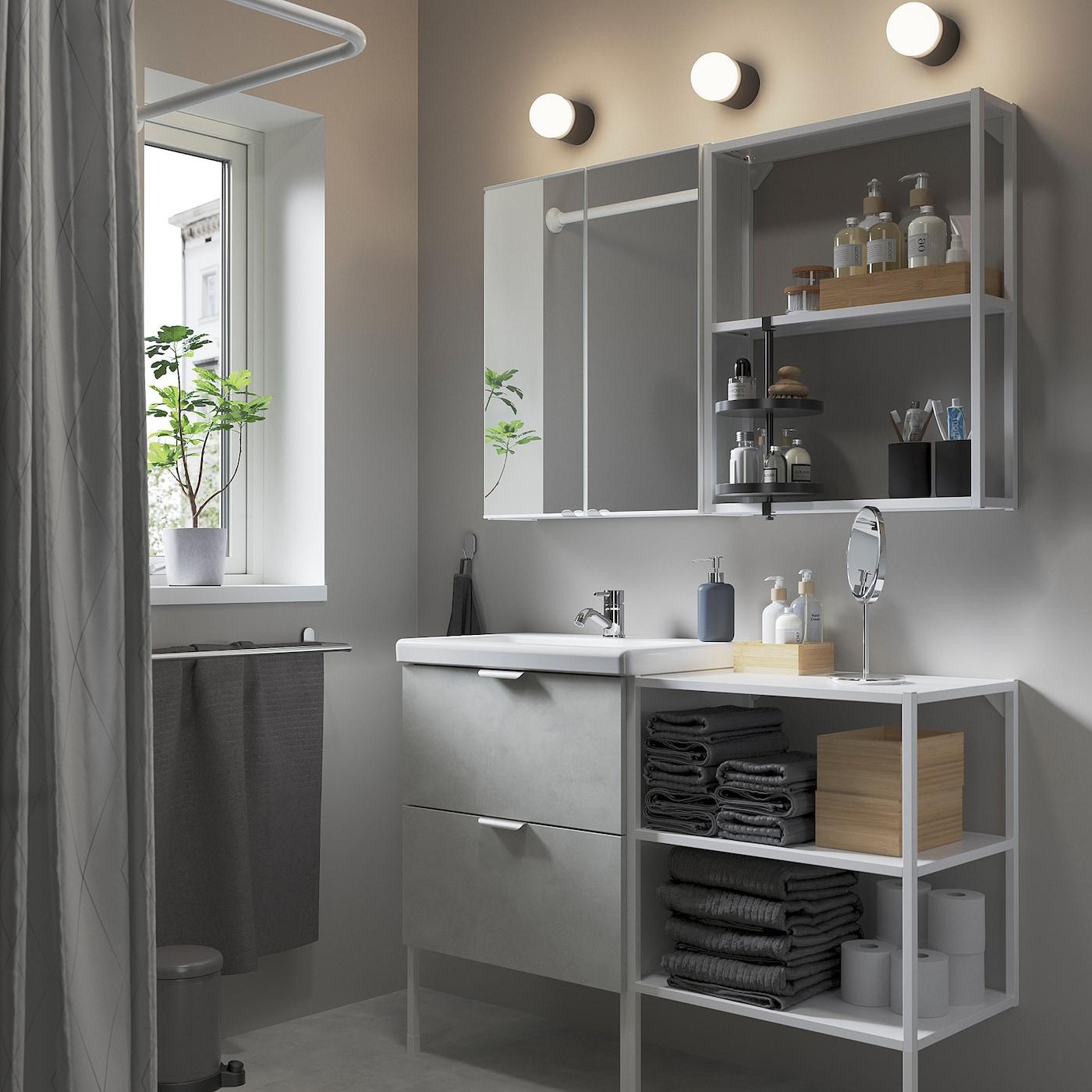 ENHET / TVÄLLEN Bathroom furniture, set of 15, concrete effect/white Pilkån tap, 122x43x87 cm