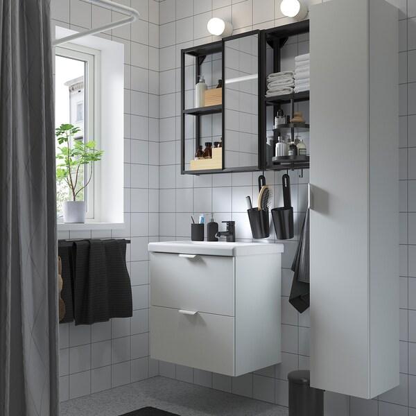 ENHET / TVÄLLEN أثاث الحمام، طقم من 18, أبيض/فحمي حنفية Saljen, 64x43x65 سم