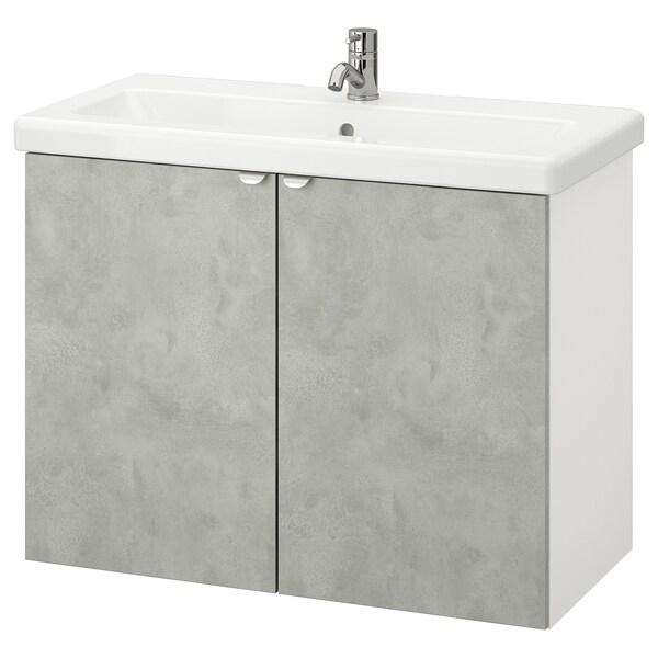 ENHET / TVÄLLEN Wash-basin cabinet with 2 doors, concrete effect/white Pilkån tap, 84x43x65 cm