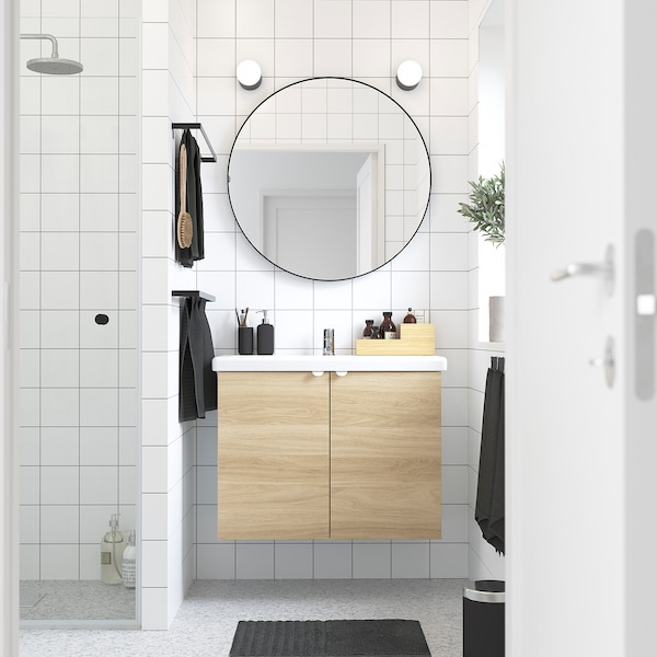 ENHET / TVÄLLEN Wash-basin cabinet with 2 doors, oak effect/white Pilkån tap, 84x43x65 cm