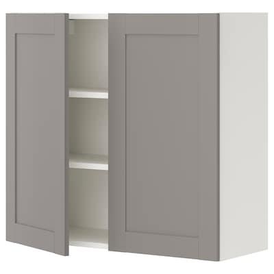 ENHET Wall cb w 2 shlvs/doors, white/grey frame, 80x32x75 cm