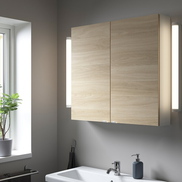 ENHET Wall cb w 2 shlvs/doors, white/oak effect, 80x17x75 cm