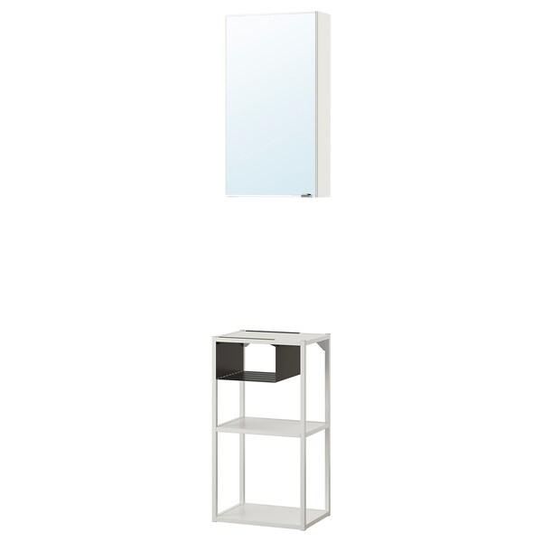 ENHET Wall storage comb w mirror door, white, 40x30x150 cm