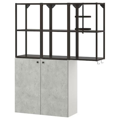 ENHET Wall storage combination, anthracite/concrete effect, 120x32x150 cm