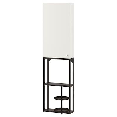 ENHET تشكيلة تخزين حائطية, فحمي/أبيض, 40x17x150 سم