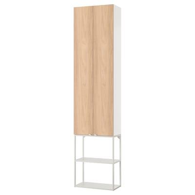 ENHET تشكيلة تخزين حائطية, أبيض/شكل السنديان, 60x32x255 سم