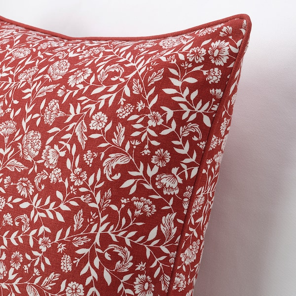 EVALOUISE Cushion cover, red/white/floral patterned, 50x50 cm
