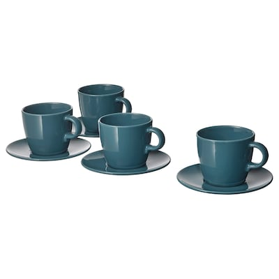 FÄRGKLAR Cup with saucer, glossy dark turquoise, 25 cl