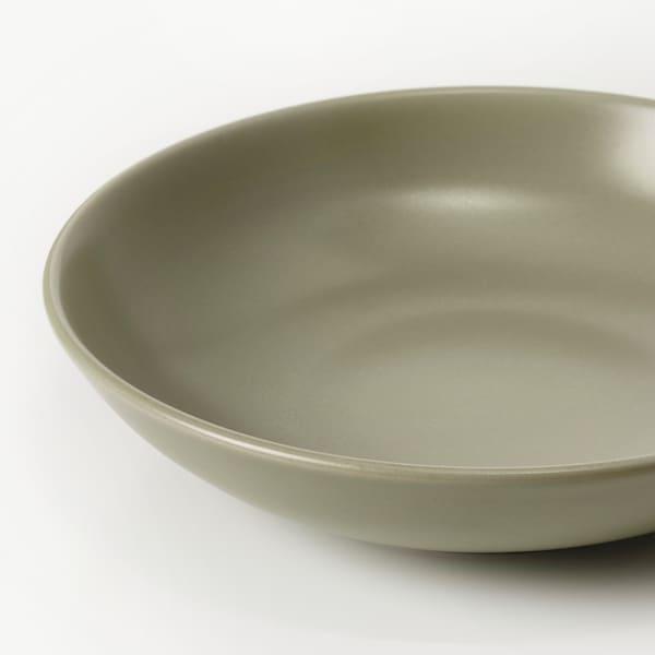 FÄRGKLAR Deep plate, matt green, 19 cm
