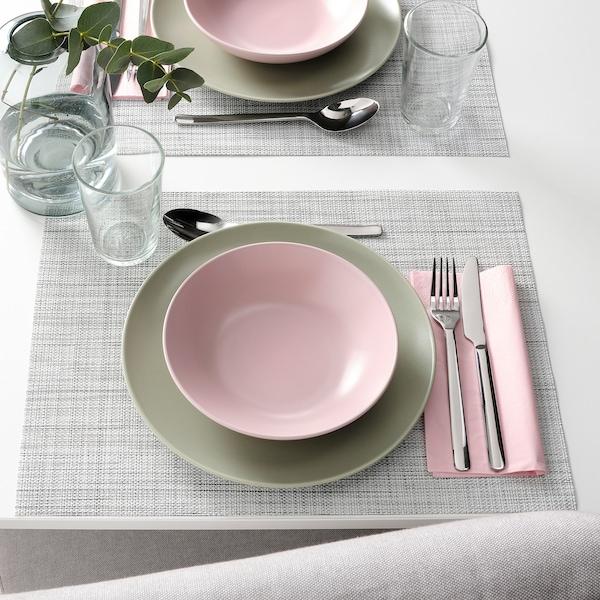 FÄRGKLAR Deep plate, matt light pink, 19 cm