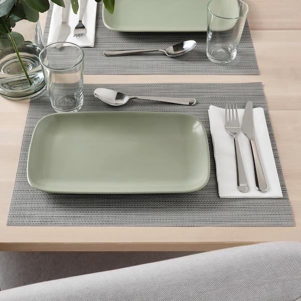FÄRGKLAR Plate, matt green, 30x18 cm
