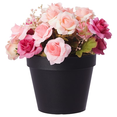 FEJKA Artificial potted plant, in/outdoor/Rose multicolour, 12 cm