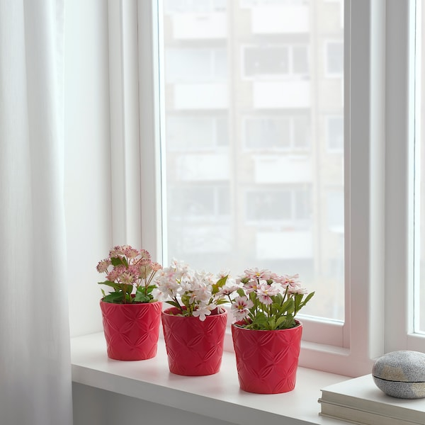 FEJKA artificial potted plant in/outdoor pink 9 cm 20 cm 3 pieces