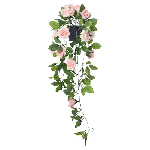 FEJKA artificial potted plant in/outdoor hanging/Rose pink 9 cm 72 cm