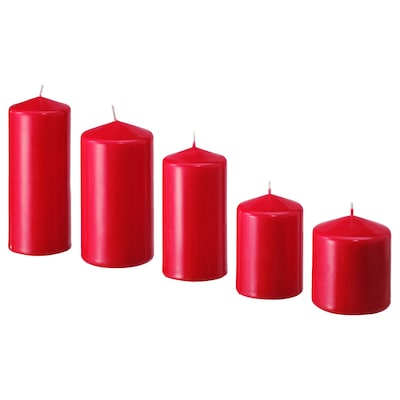 FENOMEN Unscented block candle, set of 5, red
