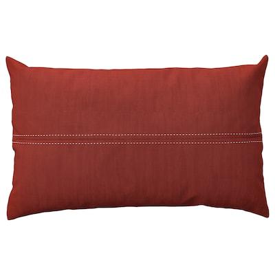 FESTHOLMEN غطاء وسادة، داخلي/خارجي, أحمر/رمادي فاتح-بيج, 40x65 سم