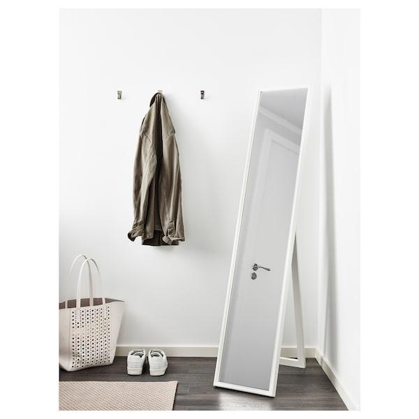 FLAKNAN Standing mirror, white, 30x150 cm