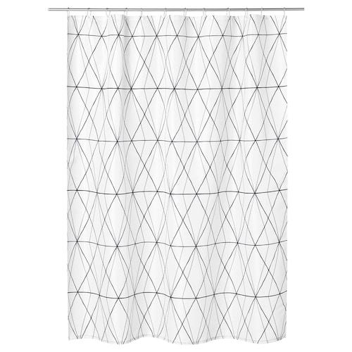 FÖLJAREN shower curtain white black/grey 116 g/m² 200 cm 180 cm 3.60 m² 116 g/m²