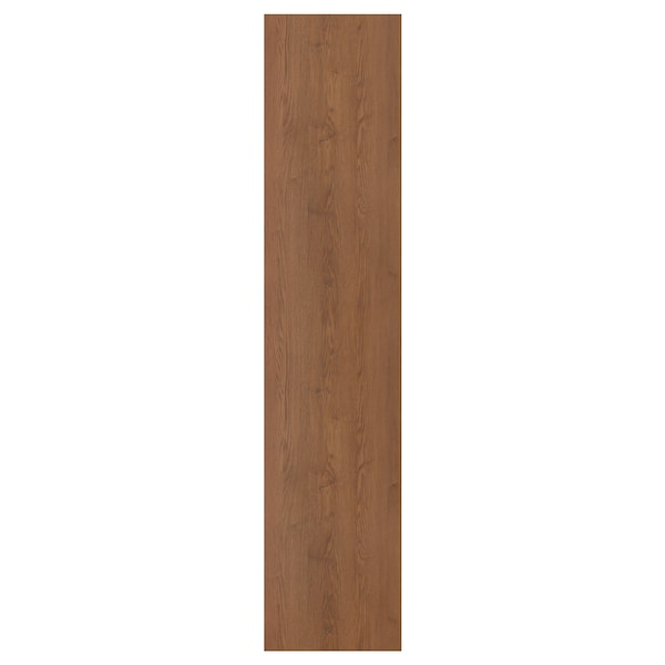 FORSAND Door with hinges, brown stained ash effect, 50x229 cm