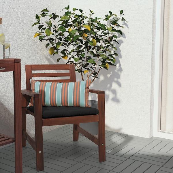 FUNKÖN Cushion, in/outdoor, orange/light blue, 30x58 cm
