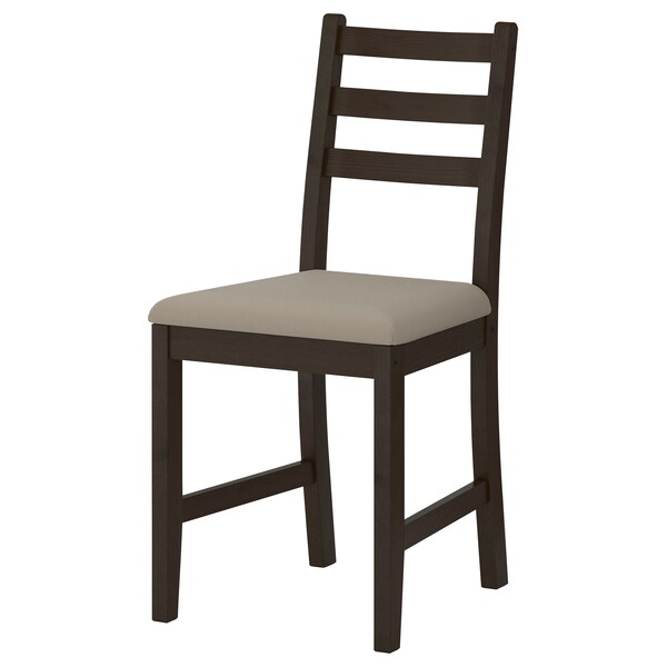 GAMLARED / LERHAMN table and 2 chairs light antique stain black-brown/Vittaryd beige 85 cm