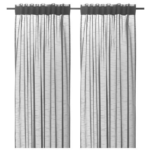 GJERTRUD sheer curtains, 1 pair dark grey 300 cm 145 cm