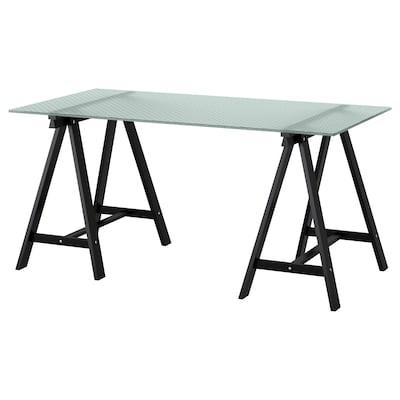 GLASHOLM / ODDVALD Table, glass/honeycomb patterned black, 148x73 cm