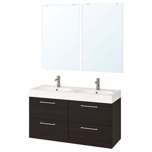 GODMORGON / BRÅVIKEN bathroom furniture, set of 6 black-brown/Brogrund tap 120 cm 60 cm 49 cm 89 cm