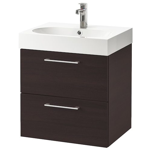 GODMORGON / BRÅVIKEN wash-stand with 2 drawers black-brown/Brogrund tap 61 cm 60 cm 49 cm 68 cm