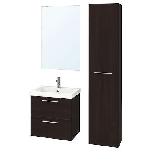 GODMORGON / ODENSVIK bathroom furniture, set of 5 black-brown/Brogrund tap 63 cm 60 cm 49 cm 89 cm