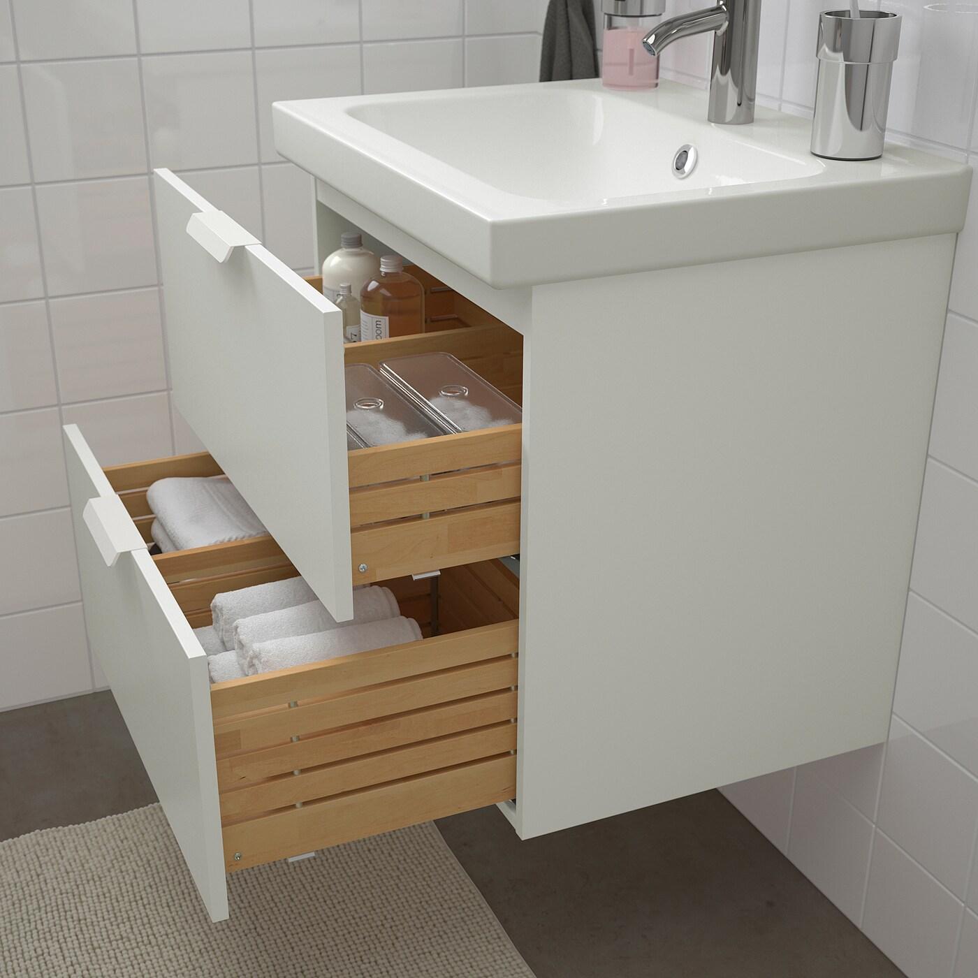 GODMORGON / ODENSVIK Bathroom furniture, set of 4, white, Dalskär tap