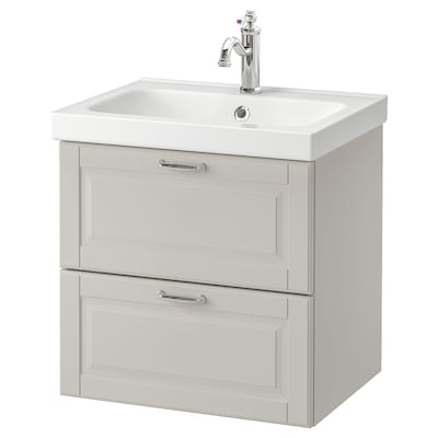GODMORGON / ODENSVIK Wash-stand with 2 drawers, Kasjön light grey/Hamnskär tap, 63x49x64 cm