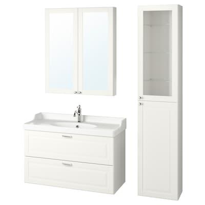 GODMORGON / RÄTTVIKEN Bathroom furniture, set of 5, Kasjön white/Hamnskär tap, 102 cm