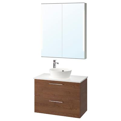 GODMORGON/TOLKEN / KATTEVIK Bathroom furniture, set of 5, brown stained ash effect/marble effect Brogrund tap, 82 cm