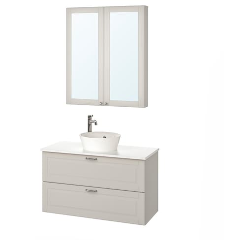GODMORGON/TOLKEN / KATTEVIK bathroom furniture, set of 5 Kasjön light grey/marble effect Voxnan tap 102 cm 100 cm 49 cm 89 cm