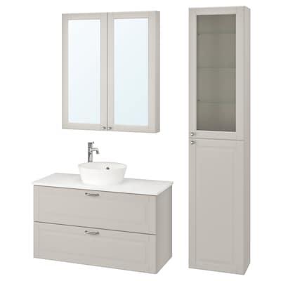 GODMORGON/TOLKEN / KATTEVIK Bathroom furniture, set of 6, Kasjön light grey/marble effect Voxnan tap, 102 cm