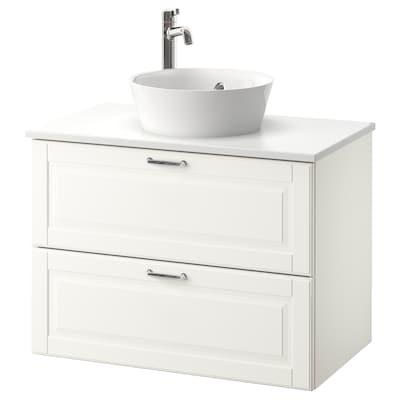 GODMORGON/TOLKEN / KATTEVIK Wsh-stnd w countertop 40 wash-basin, Kasjön white/marble effect Voxnan tap, 82x49x75 cm