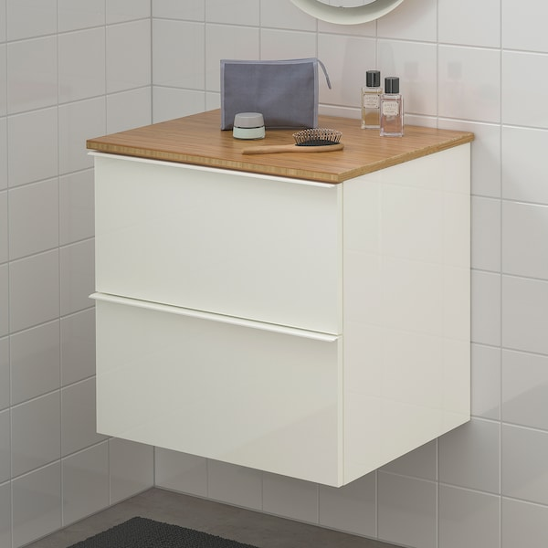 GODMORGON / TOLKEN wash-stand with 2 drawers high-gloss white/bamboo 62 cm 49 cm 60 cm