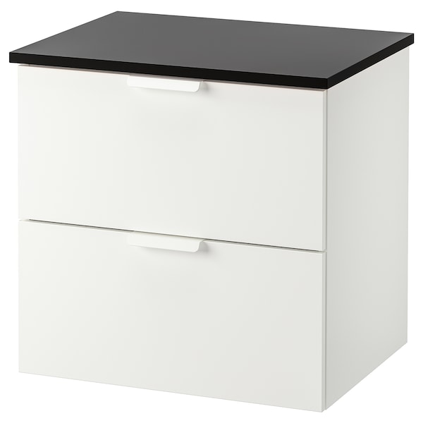 GODMORGON / TOLKEN wash-stand with 2 drawers white/anthracite 62 cm 49 cm 60 cm