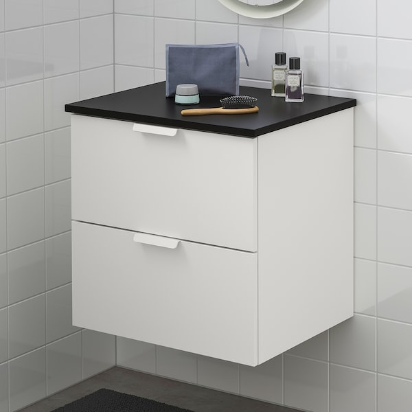 GODMORGON / TOLKEN Wash-stand with 2 drawers, white/anthracite, 62x49x60 cm